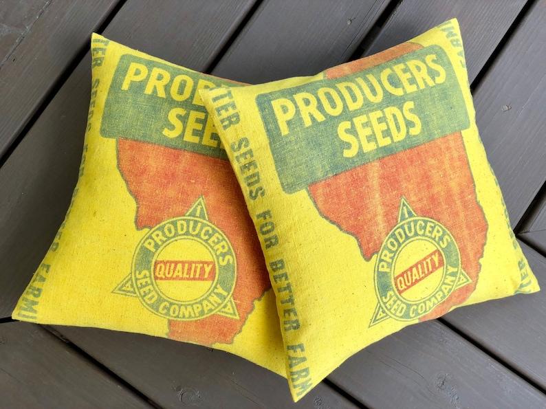 Authentic Vintage Sack Pillow Cover  Decatur Illinois  image 0