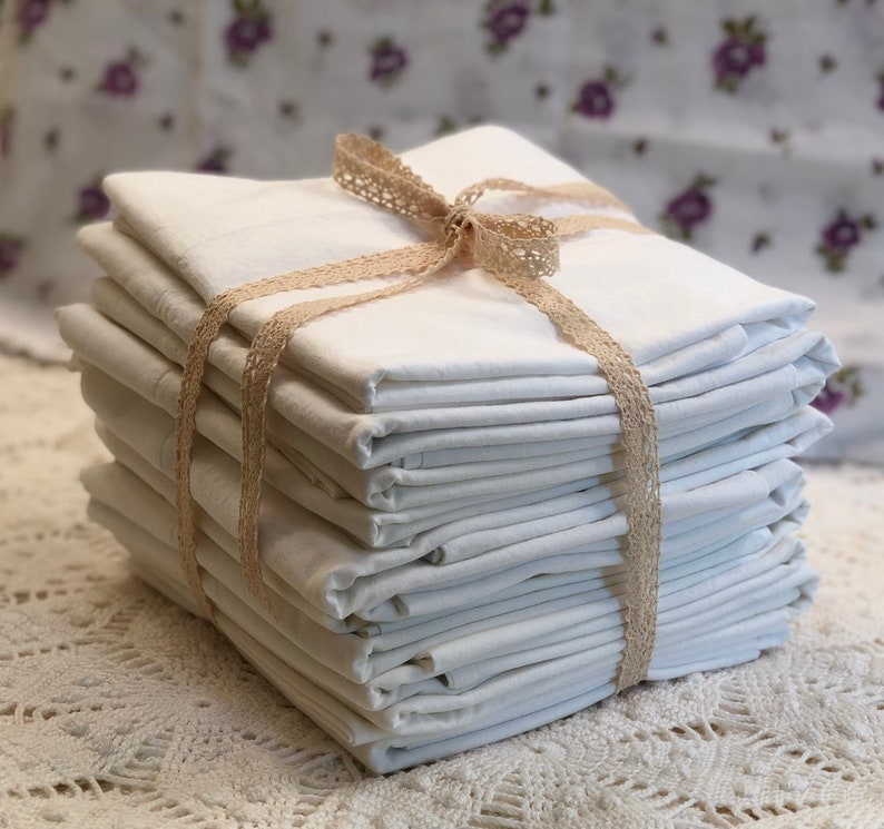 Vintage Pillowcases  All Cotton Muslin  Solid White  Cannon image 0