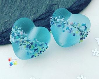 Lampwork Beads Seaglass Blue Batik Heart, glass hearts, handmade, sea glass, frosted, matt, glass hearts