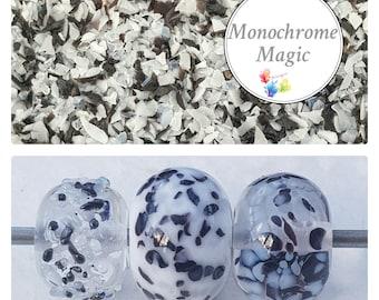 Lampwork Frit Blend MONOCHROME MAGIC, fine blend coe 94-96, Lampwork Supply, Glass Supply, Black white grey frit