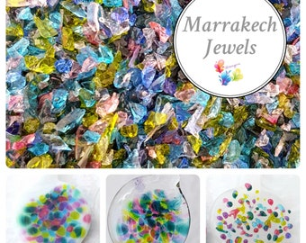 MARRAKECH JEWELS, Lampwork Frit Blend, fine blend coe 94-96, Lampwork Supply, Glass Supply, Fusing Supply, rainbow frit, stained glass