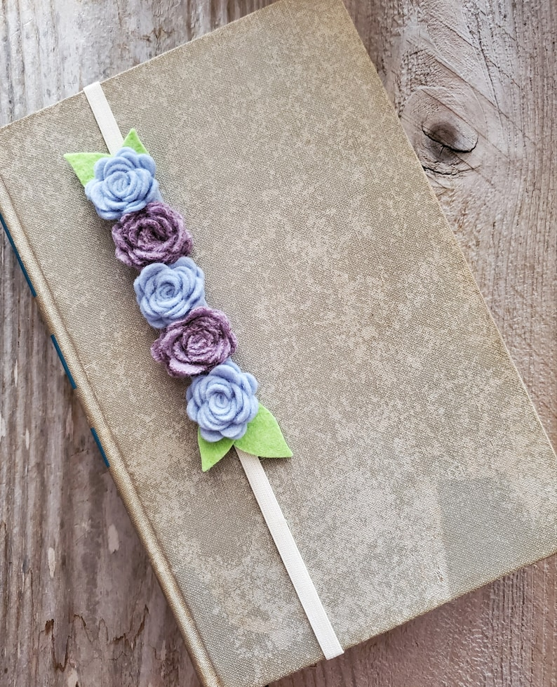 Blue and Purple Flower Bookmark Felt Flower Planner Band image 0