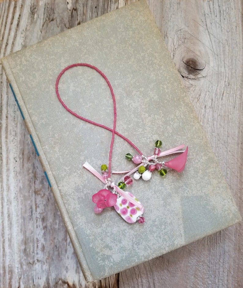 Floral Beaded Bookmark Book Thong Gift for Her Bookworm or image 0