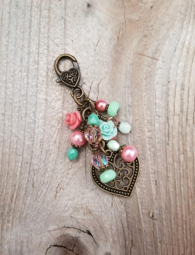 Boho Purse Charm Heart and Flowers Bag Clip Zipper Pull Bag image 0