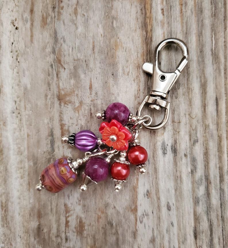 Glass Beaded Bag Clip Purple Zipper Pull Purse Bling image 0