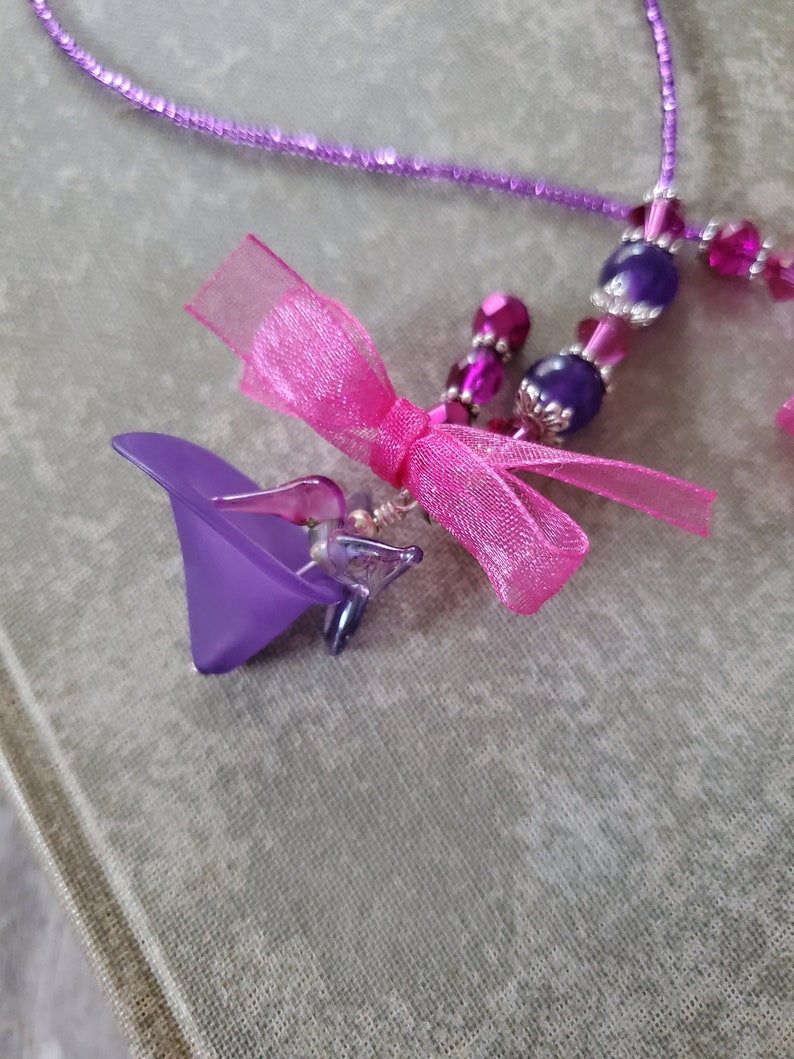 Hummingbird Beaded Bookmark Purple and Violet Glass image 0