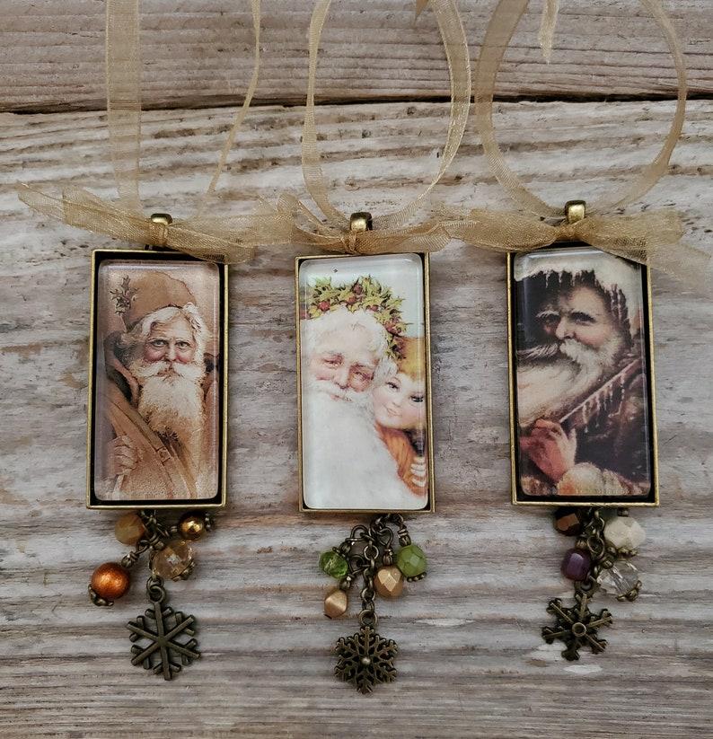 Vintage Style Santa Ornaments Father Christmas Decor image 0