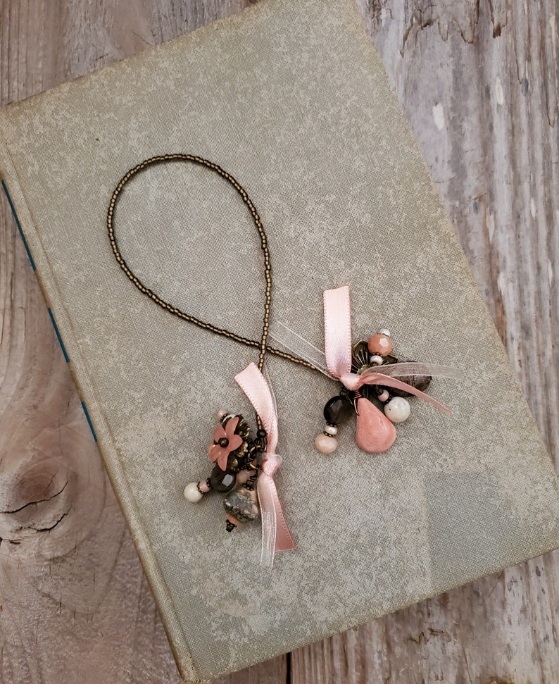 Rustic Bookmark Southwest Stone and Glass Book Thong Beaded image 0