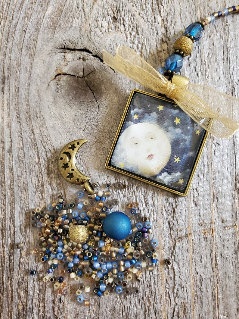 Moon Bookmark Beaded Celestial Pendant Book Lover Gift Your image 0