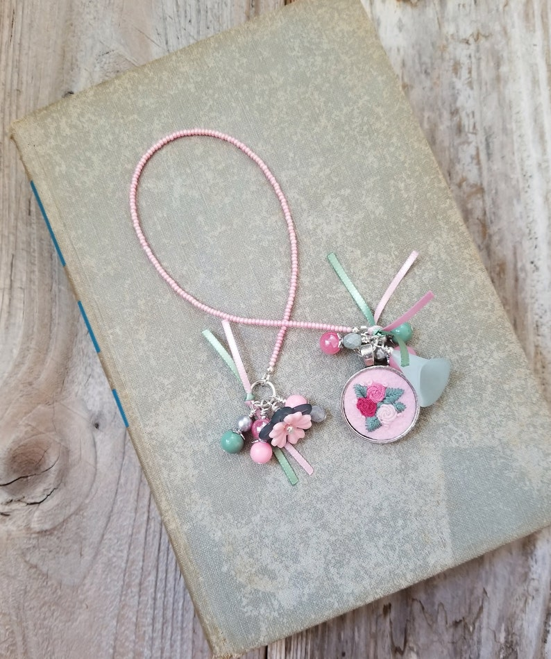 Embroidered Flower Charm Bookmark Floral Book Thong Gift for image 0