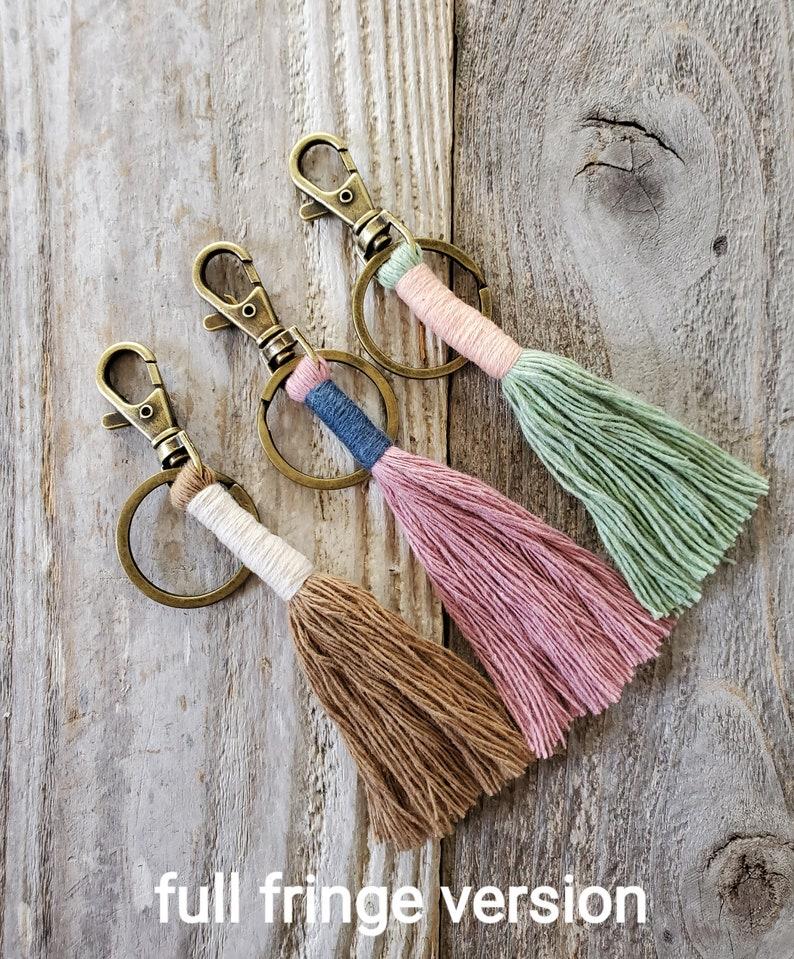 Macrame Cord Wrapped Keychain Boho Natural Style Minimal Key image 0