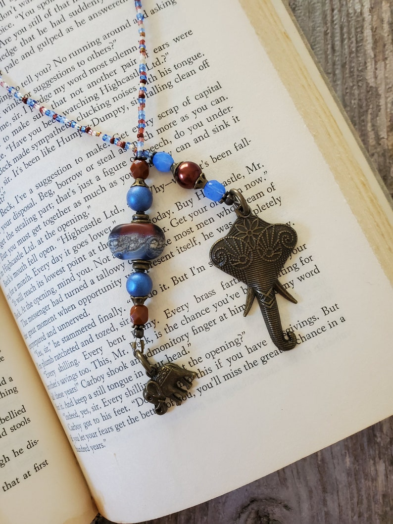 Glass Bead Bookmark Elephant Bookmarker Beaded Place Holder image 0