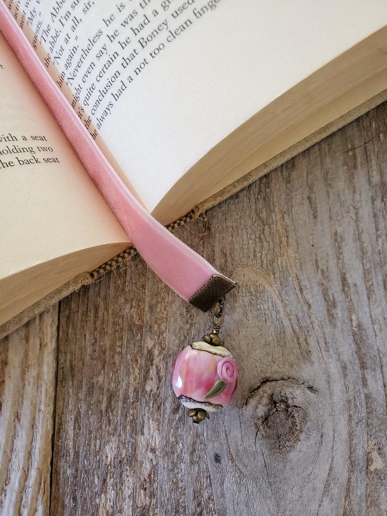 Velvet Ribbon Bookmark Artisan Floral Bead Book Thong Gift image 0