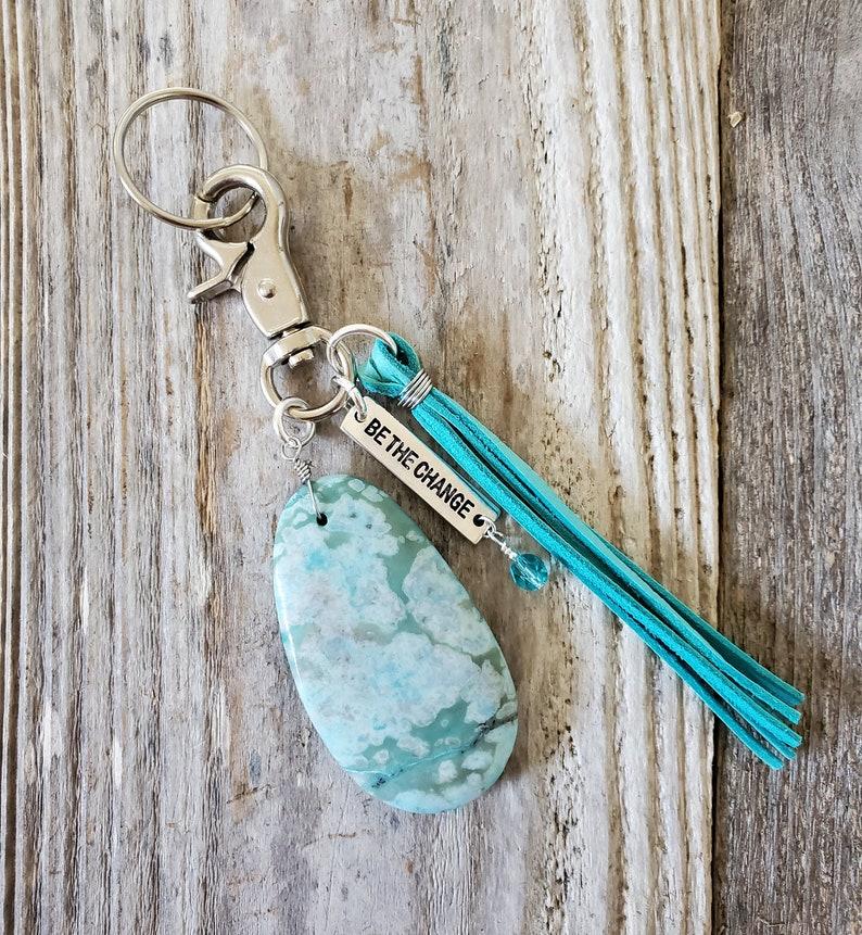 Peace Jade Pendant Keychain Purse Tassel Zipper Pull Bag image 0