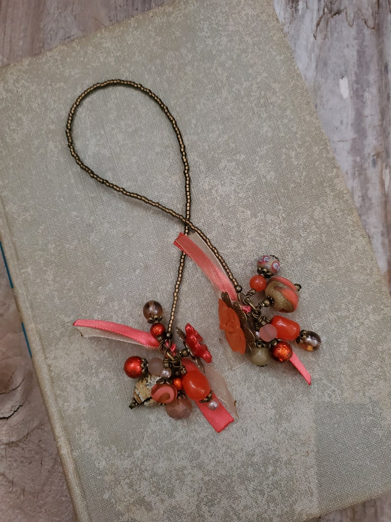 Southwest Desert Theme Beaded Bookmark Glass and Stone Rustic image 0