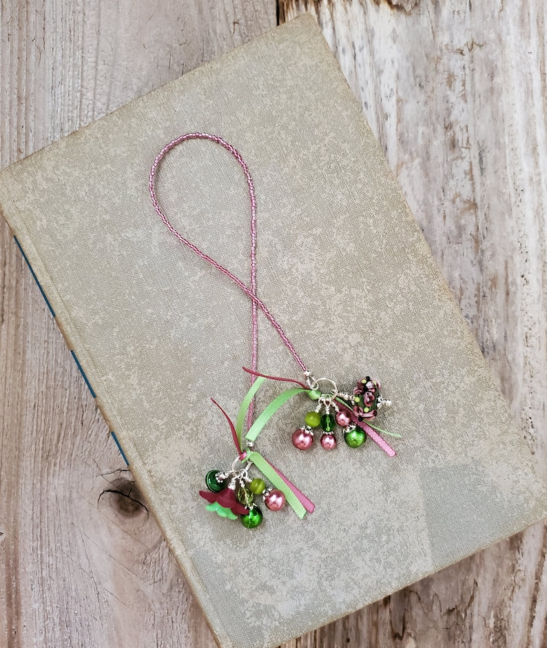 Pink Flower Beaded Bookmark Floral Book Thong Unique image 0