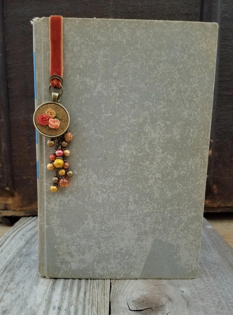 Velvet Ribbon Bookmark Hand Embroidered Beaded Book Thong image 0