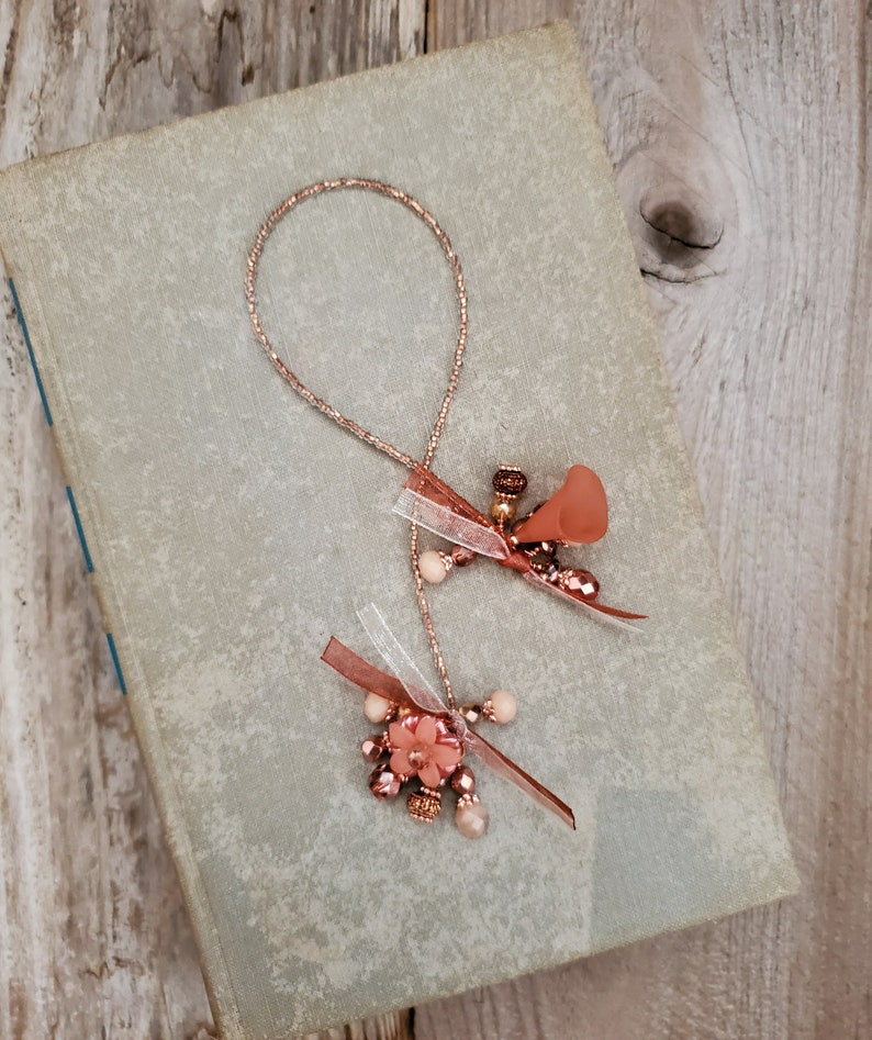 Glass Bead Bookmark in Rose Gold and Copper Perfect Gift for image 0