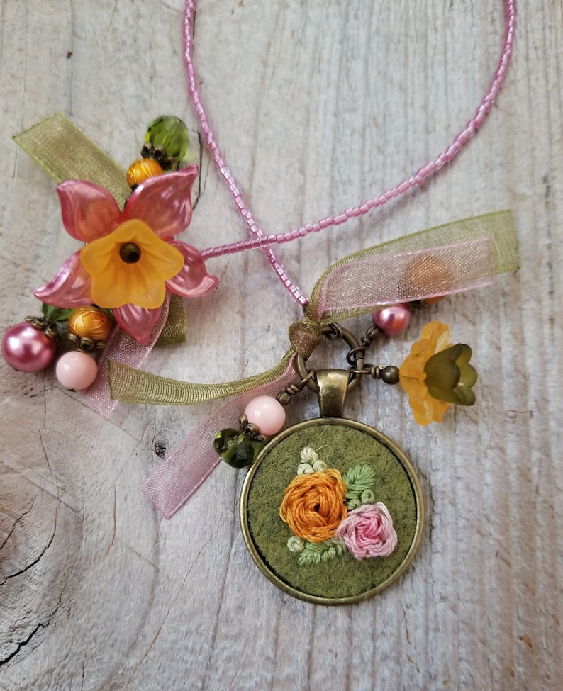 Embroidered Flower Charm Bookmark Tiny Embroidery Book Thong image 0