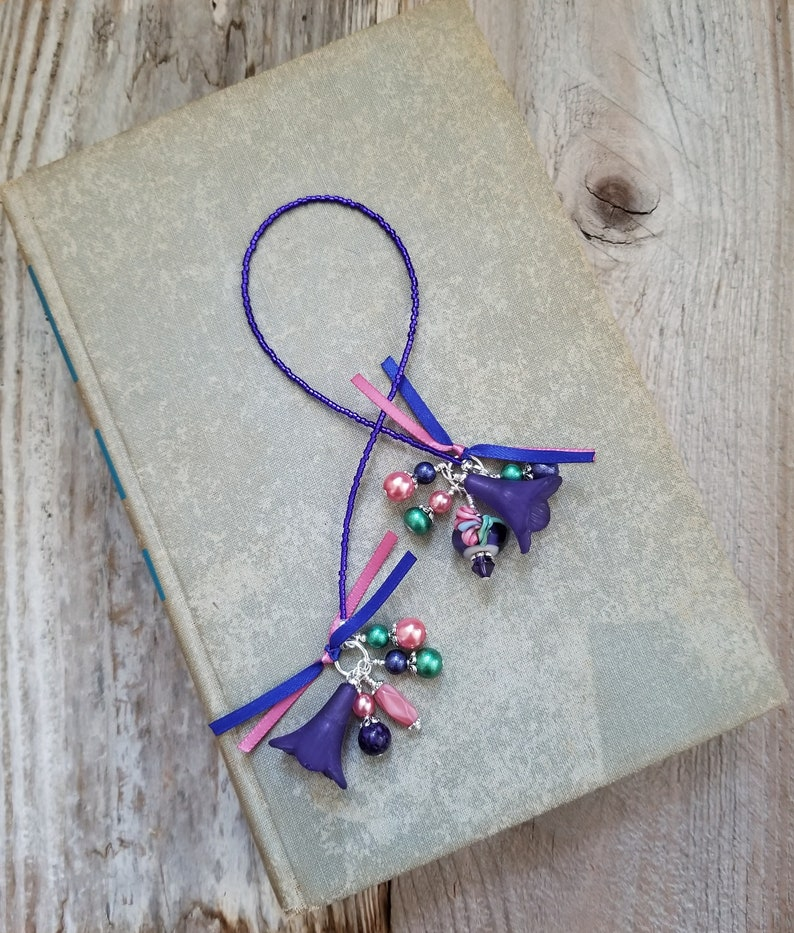 Flower Bookmark Beaded Book Thong Teacher Gift Mother image 0