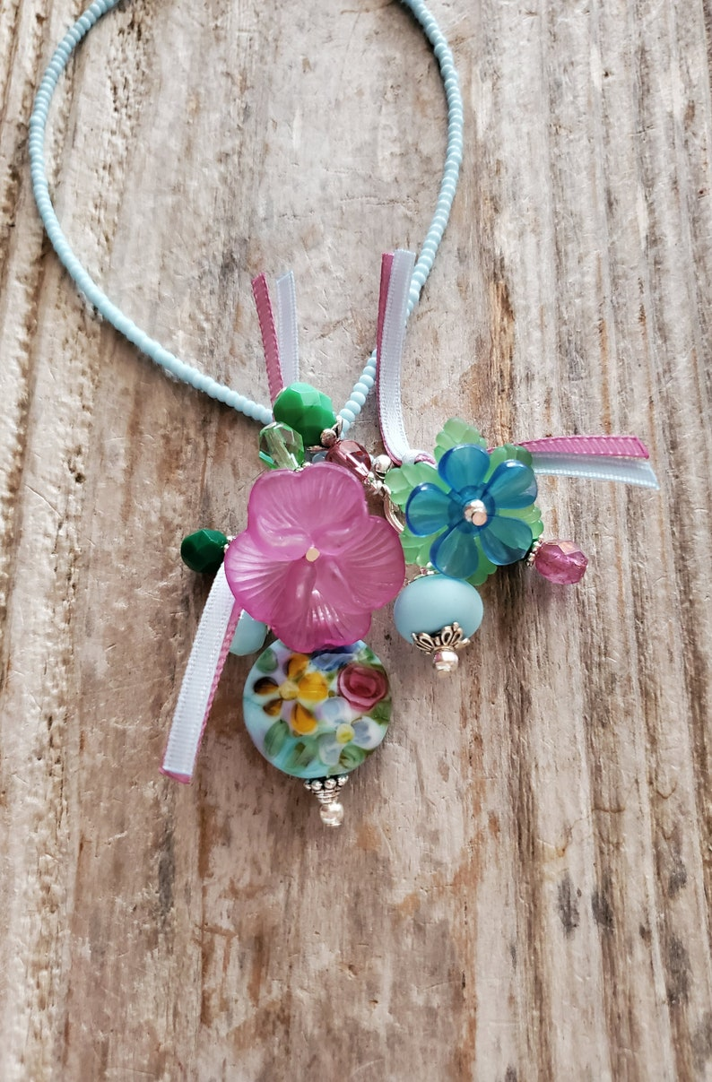 Flower Bookmark Old English Rose Garden Glass Handmade Bead image 0