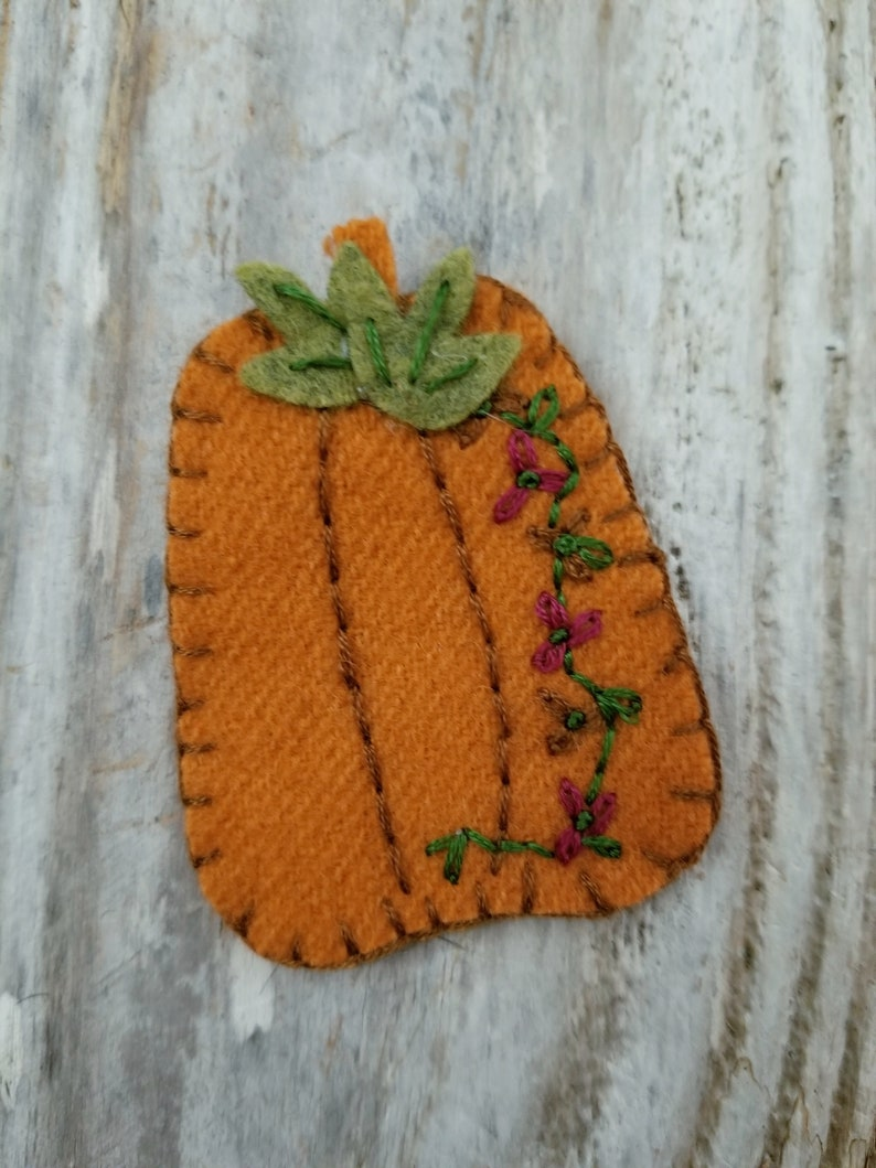 Embroidered Pumpkin Brooch Hand Dyed and Hand Embroidered image 0