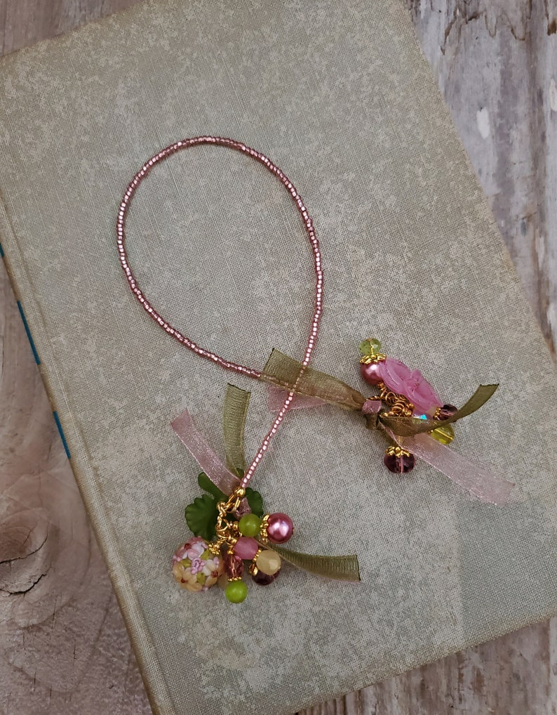 Flower Theme Bookmark Floral Glass Book Thong Beaded Book image 0