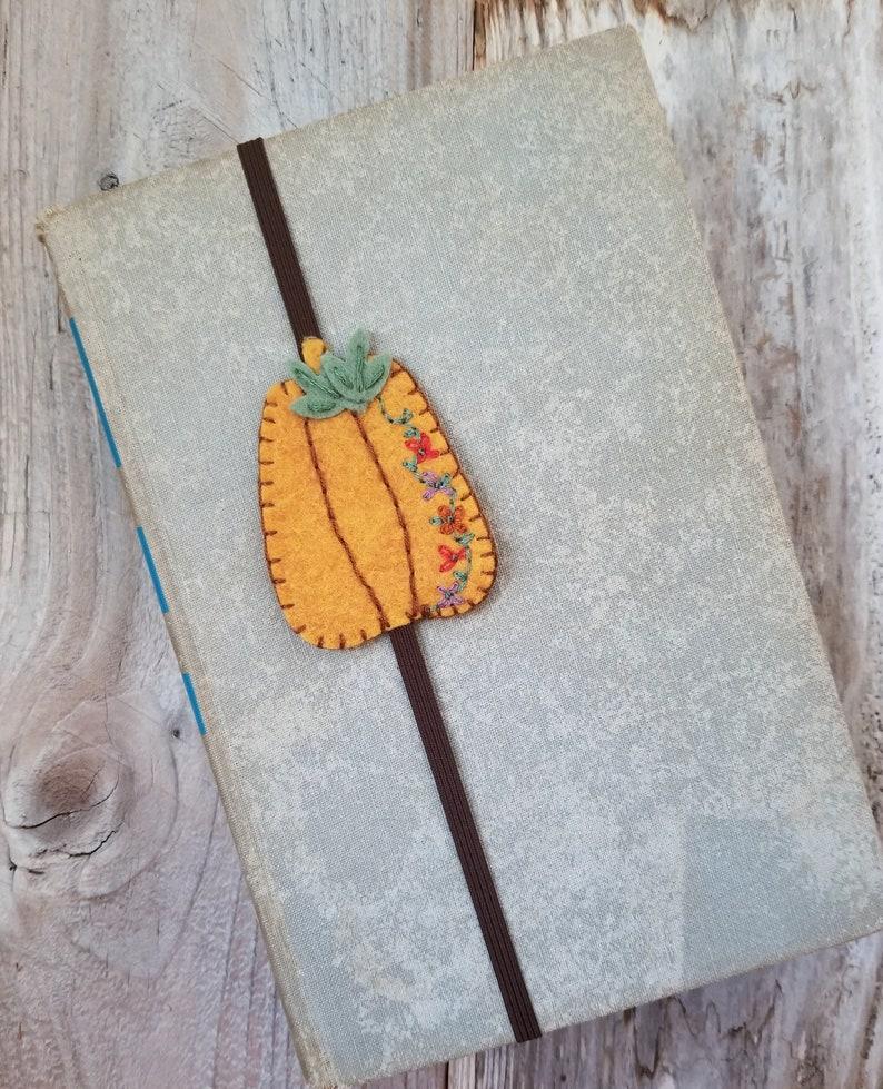 Felt Pumpkin Book Band Autumn Bookmark Pumpkin Planner Band image 0