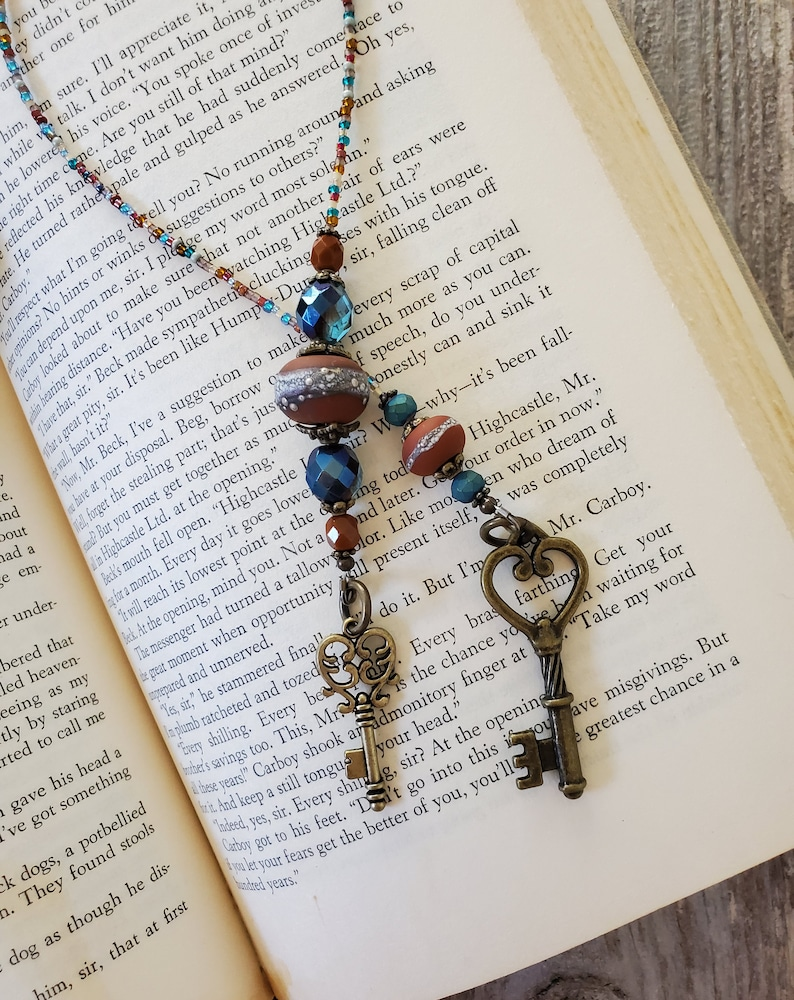 Artisan Bead Bookmark Antique Look Key Bookmarker Teal and image 0