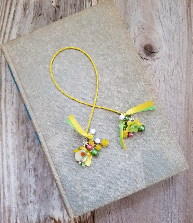 Book Lover Gift Birdhouse Bookmark Beaded Book Thong image 0