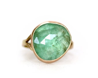 Emerald Cocktail Ring - Rose Cut Emerald Statement Ring
