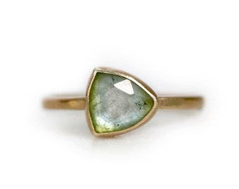 Green Tourmaline Trillion Ring