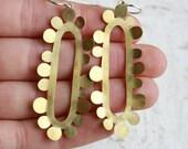 RESERVED for Fluerhope --- Long Gold Earrings - Brass Earrings -Brass and Sterling Silver Earrings