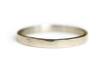 14k white gold wedding band - Hammered white gold wedding ring - hammered gold ring - Stacking Ring