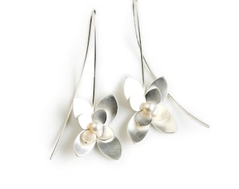 Sterling Silver and Pearl Drop Earrings - Botanical Earrings - Silver Flower Earrings - Succulent Jewelry
