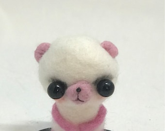 Pink panda Original one of a kind art doll