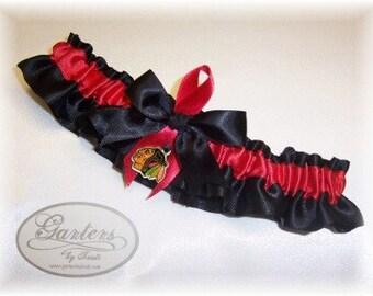 Chicago Blackhawks Wedding Garter Set with charms   Lace  Handmade   keepsake and toss RRBG