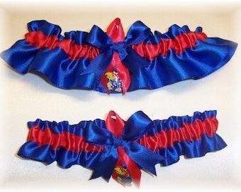 handmade bridal keepsake garter set University of Kansas Kansas Jayhawks KU Pick Charm personalize now available upon request