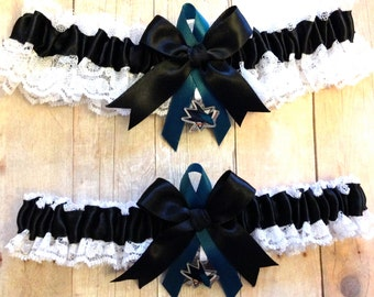 San Jose Sharks Inspired Wedding Garter Set  White Lace Handmade with San Jose Sharks charm  Handmade Keepsake and Toss