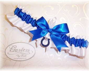 Indianapolis Colts Wedding Garter with IIndianapolis Colts charm Toss   Handmade  Satin W-RRW