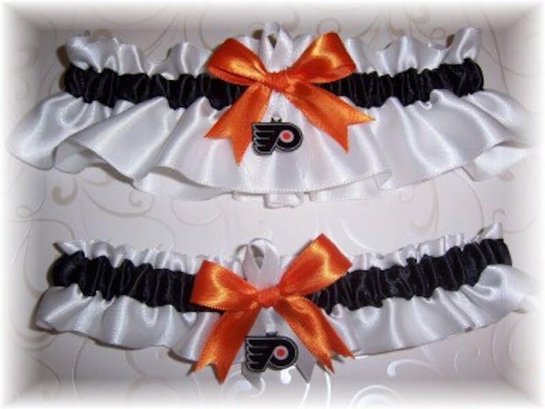 Philadelphia Flyers Wedding Garter Set  with charms     Handmade  Keepsake and Toss  Satin W-BOW