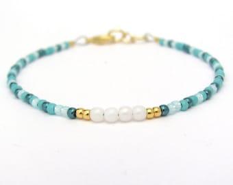 Mix Turquoise Bracelet, Seed Bead Bracelet, Friendship Bracelet, Summer Jewelry, White Beaded Bracelet, Yoga Bracelet, Turquoise Bridesmaid
