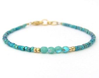 Turquoise Bracelet, Seed Bead Bracelet, Friendship Bracelet, Summer Jewelry, Ocean Blue, Yoga Bracelet, Turquoise Bridesmaid, Blue Wedding