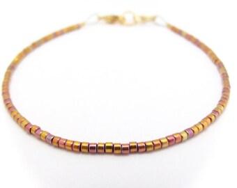 Rose Gold Delica Bead Bracelet, Dainty Beaded Bracelet, Seed Bead Bracelet, Gold Glass Bead Bracelet, Rose Gold, Thin Bracelet