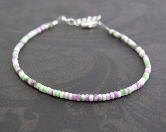 Spring MIx Seed Bead Bracelet Purple Friendship Beaded Bracelet, Dainty Multi Color, Purple Green White Gift for Her, Sister Teen
