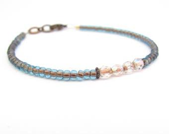 Blue Friendship Bracelet, Blue Copper Bracelet, Seed Bead Bracelet, Beaded Bracelet, Minimal Bracelet, Miss Ceces Jewels, Hawaii Jewelry