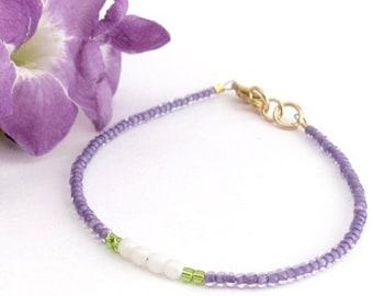 Spring Summer Jewelry Purple Bracelet, Purple Friendship Seed Bead Bracelet, Minimal Bracelet, Colorful Dainty, Hawaiian Jewelry