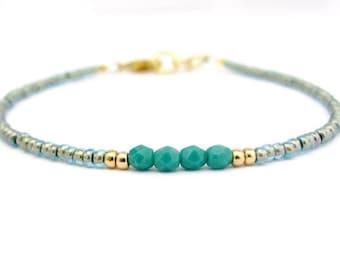 Turquoise Beaded Bracelet Seed Bead Aqua Blue Silver Plated Gift for Friend Sister Bracelet