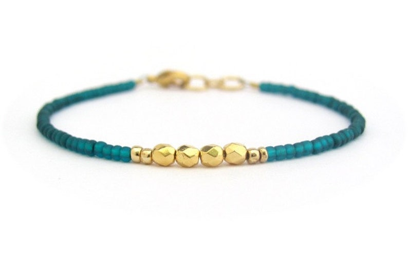 Teal Beaded Bracelet Green Gold Seed Bead Jewelry Friendship Minimalist Modern Stocking Stuffer Gift