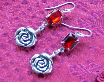 Red Rose Earrings - Silver Rose Earrings - Red Crystal Earrings - Gothic Rose Earrings - Goth Red earrings - Goth Rose Earrings Rose Drops